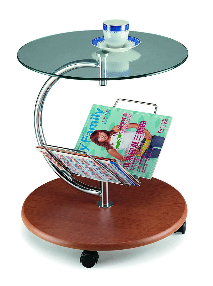End Side Table Magazine Rack Round Glass Top Wood Base