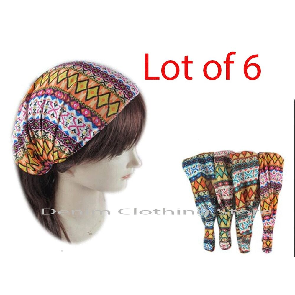 Exercise Hair Bands: LOT Of 6 Women Fashion Stretch Workout Yoga Hair Band Head