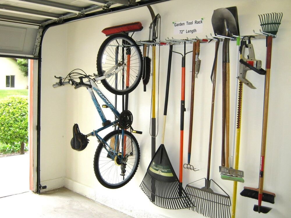 bicycle storage garden tool rack garage organizer hook ebay. Black Bedroom Furniture Sets. Home Design Ideas