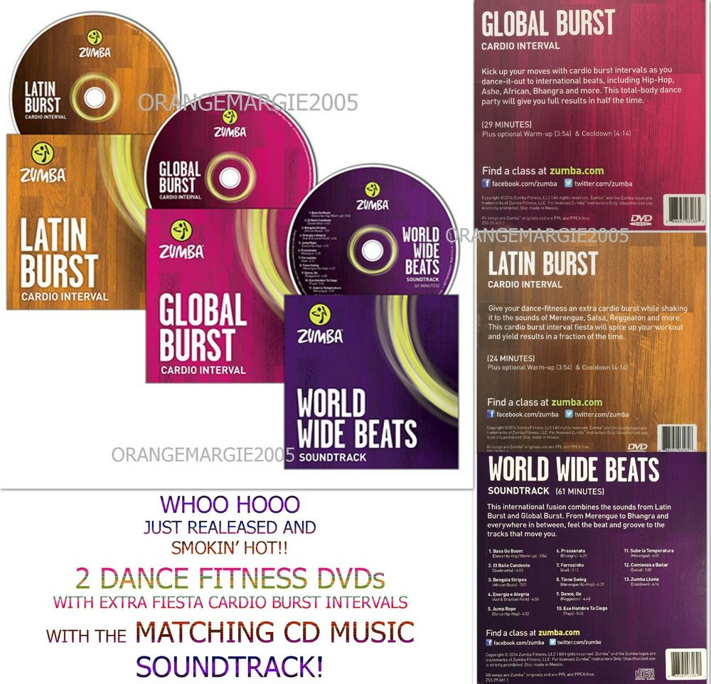 zumba fitness 2 dvd s latin global burst and the matching cd music instructors ebay. Black Bedroom Furniture Sets. Home Design Ideas