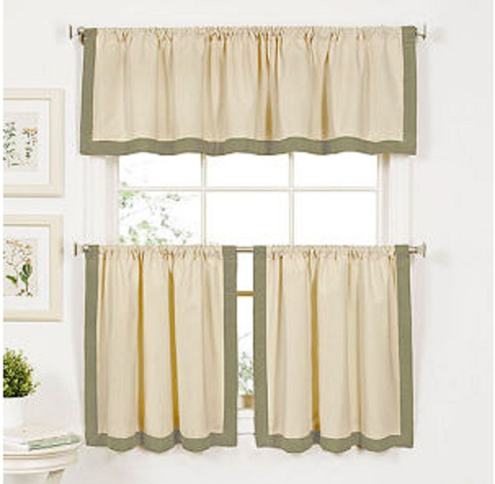 Rosemary Linen Kitchen Curtain Swag: Wilton Banded Kitchen Curtain 24 Inch Tier And Valance Set