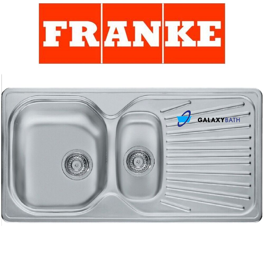 FRANKE DOUBLE 1.5 BOWL DRAINER & WASTE STAINLESS STEEL SQUARE KITCHEN ...