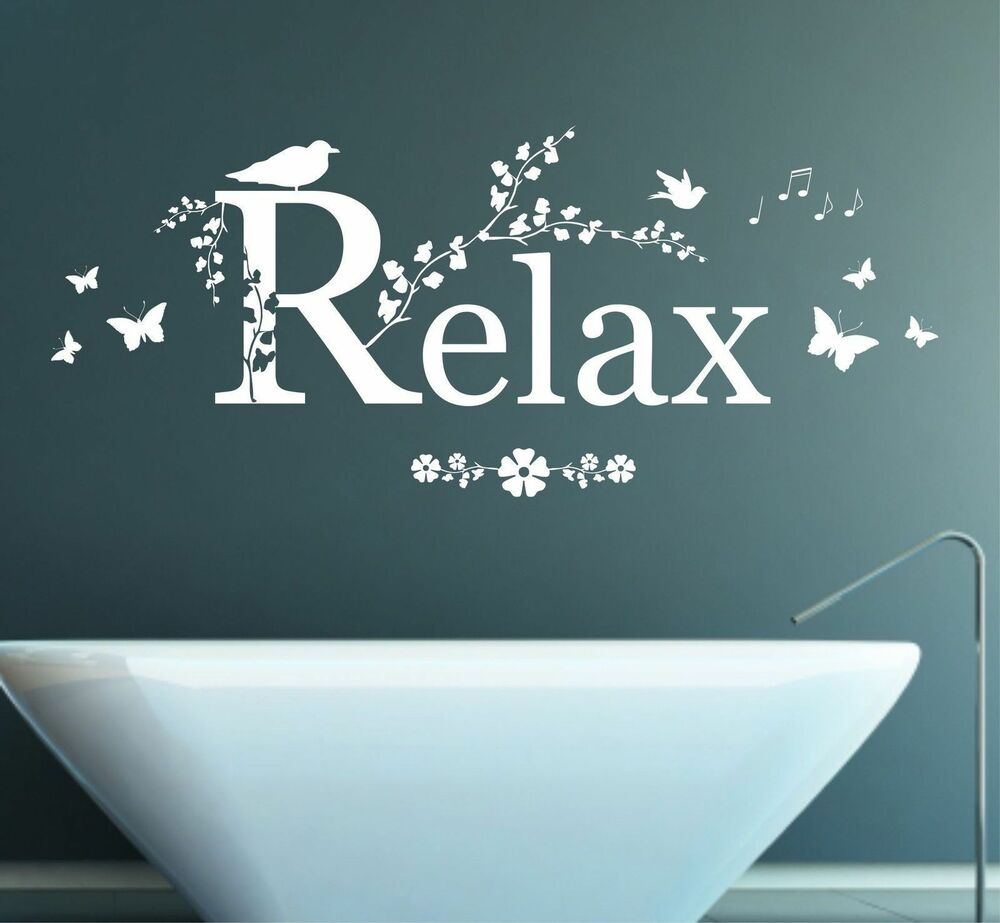Relax quote vinyl wall art sticker decal mural bedroom for Relax bathroom wall decor