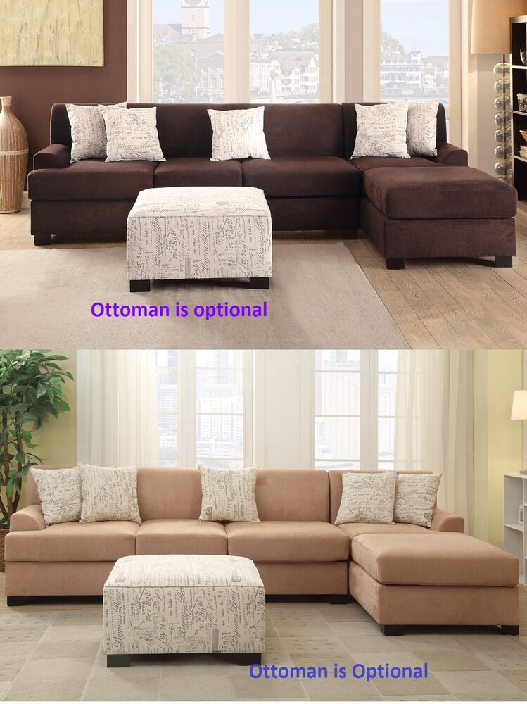 2 pc sectional sofa chaise in 2 color microsuede living room furniture set ebay ForMicrosuede Living Room Furniture