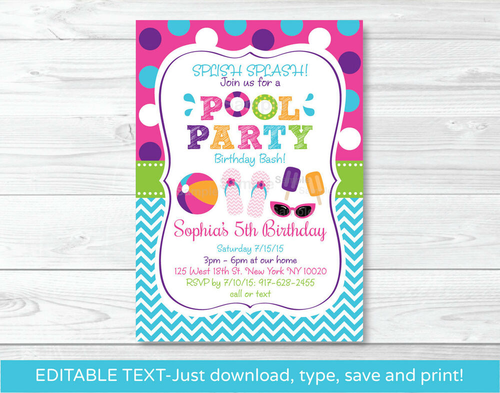 Dashing image regarding free printable pool party invitations