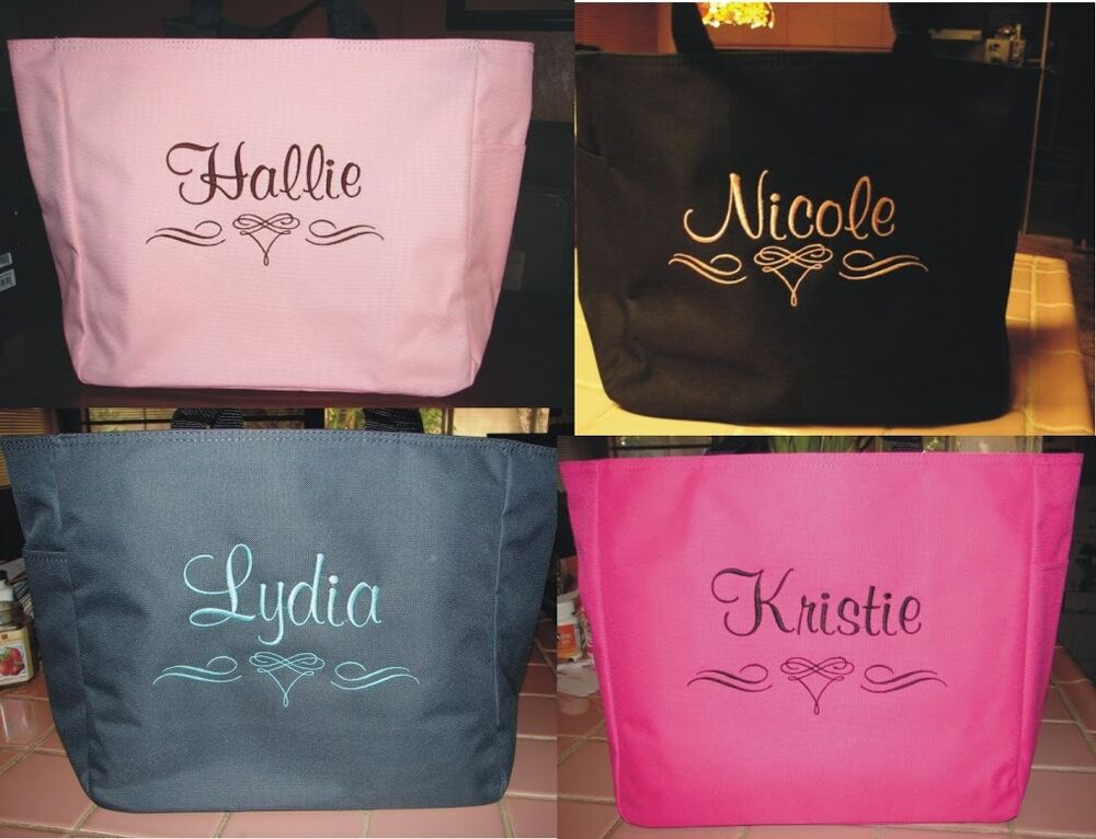 13 Wedding Tote Bag Personalized Bridesmaid Scroll Bridal Shower Gift Ebay