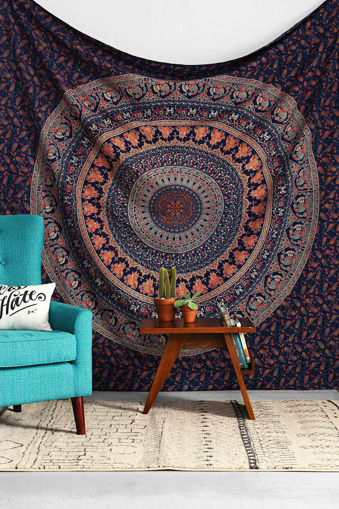 Queen hippie indian tapestry elephant mandala throw wall for Decoration murale hipster