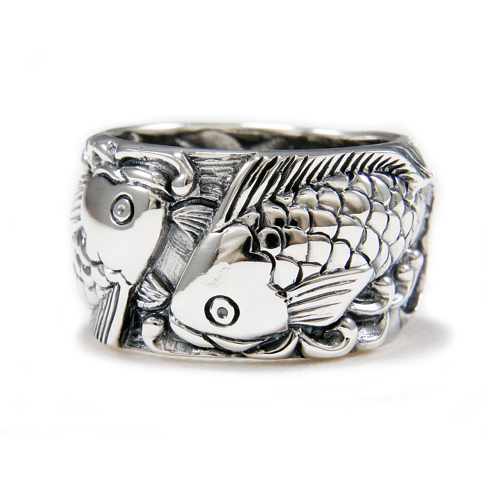japanese carp koi 925 sterling silver us size 10 5