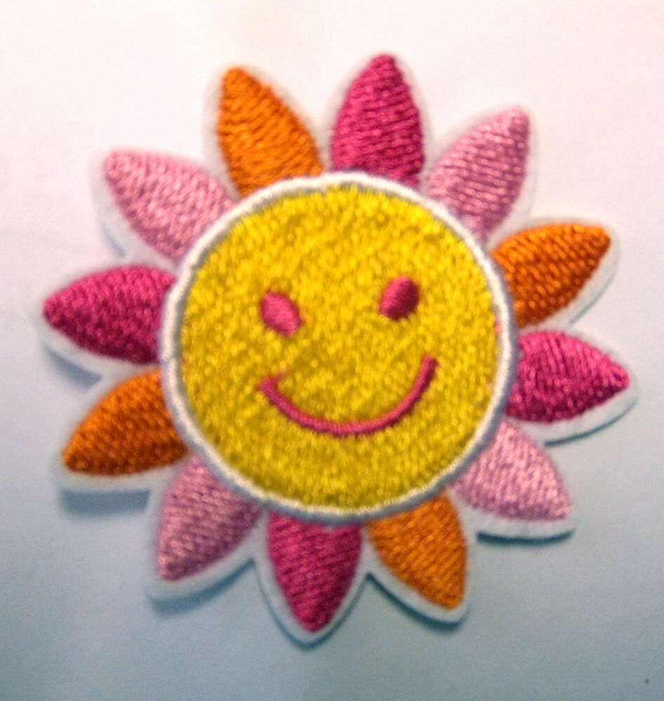 Pink Sun Cute Childs Baby Embroidered Iron Sew On Patch