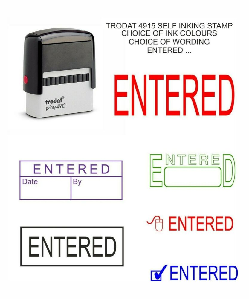Self Inking Entered Rubber Stamp Office School Business