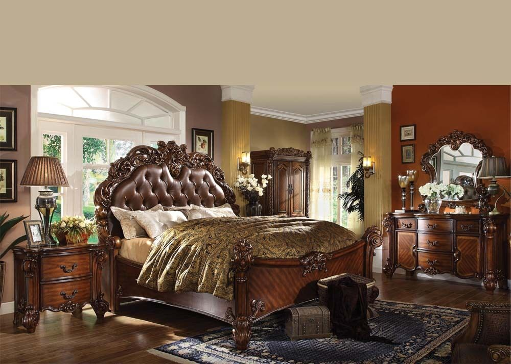 Antique traditional forml luxury queen king size bed set for Traditional furniture