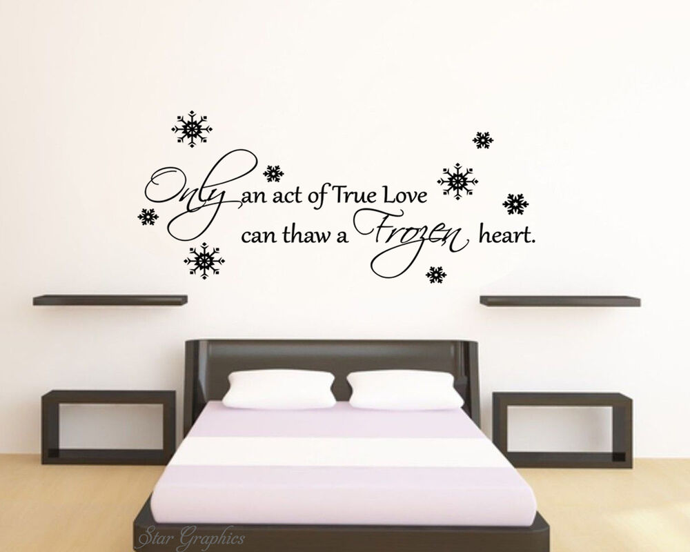 Frozen disney love quote wall art vinyl transfer kids for Disney wall mural stickers