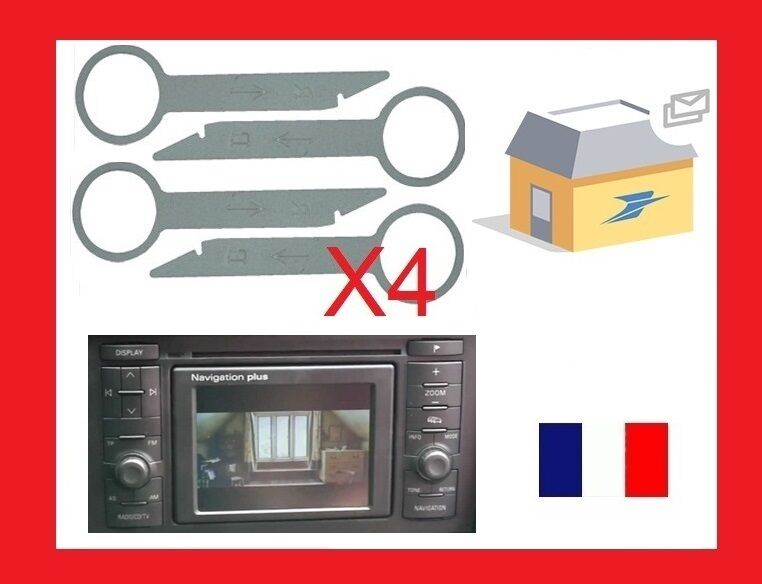 outils extraction autoradio d montage poste concert rns audi a3 a6 2005 2014 ebay. Black Bedroom Furniture Sets. Home Design Ideas