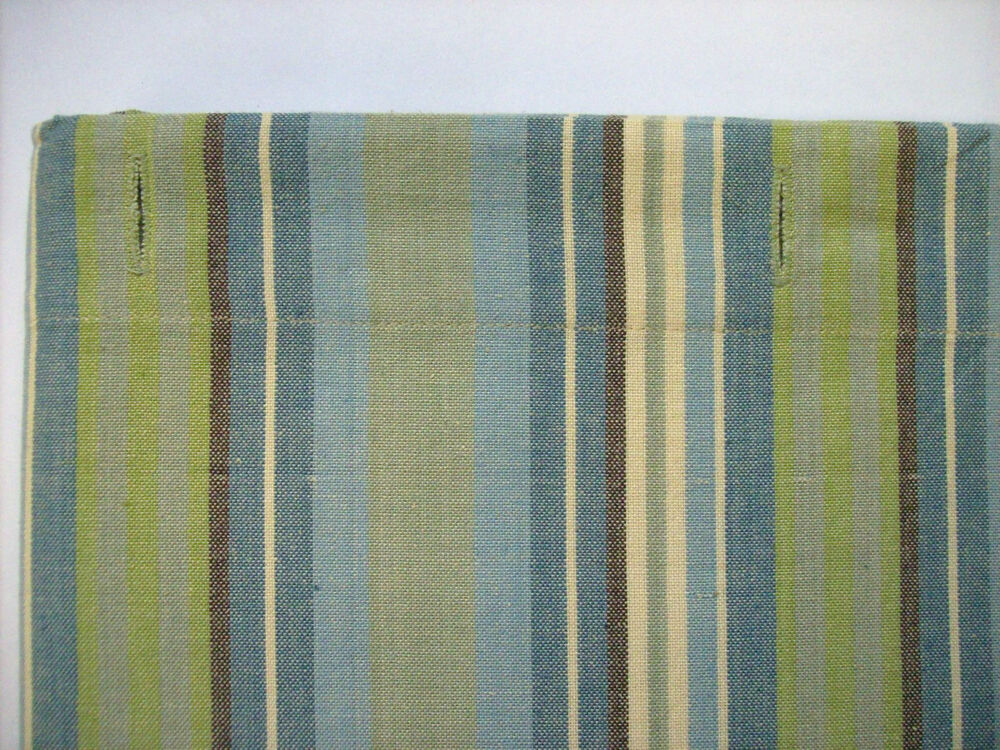 MEADOW BROOK Striped Cotton Shower Curtain Greens Blues Cream Brown S
