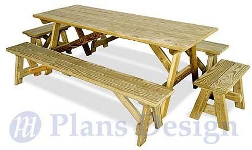Classic Rectangle Picnic Table With Benches Woodworking Plans Design #ODF12 | eBay