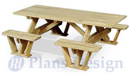 ... Rectangle Picnic Table / Bench Out Door Furniture Plans #ODF02 | eBay