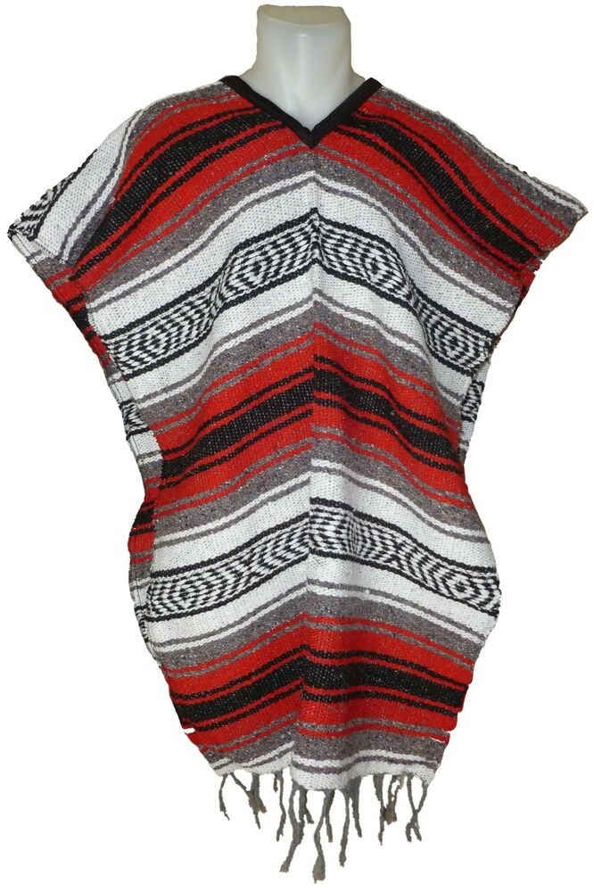 Traditional Mexican Poncho - RED - ONE SIZE FITS ALL ...