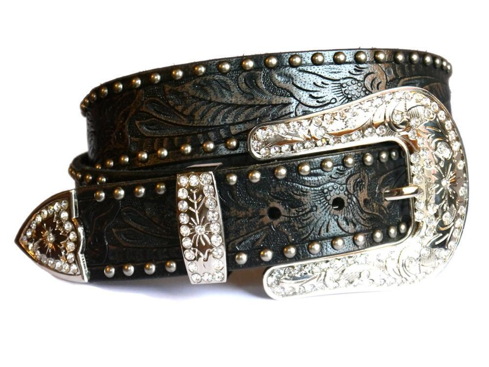 ranch western womens belt leather crystals silver