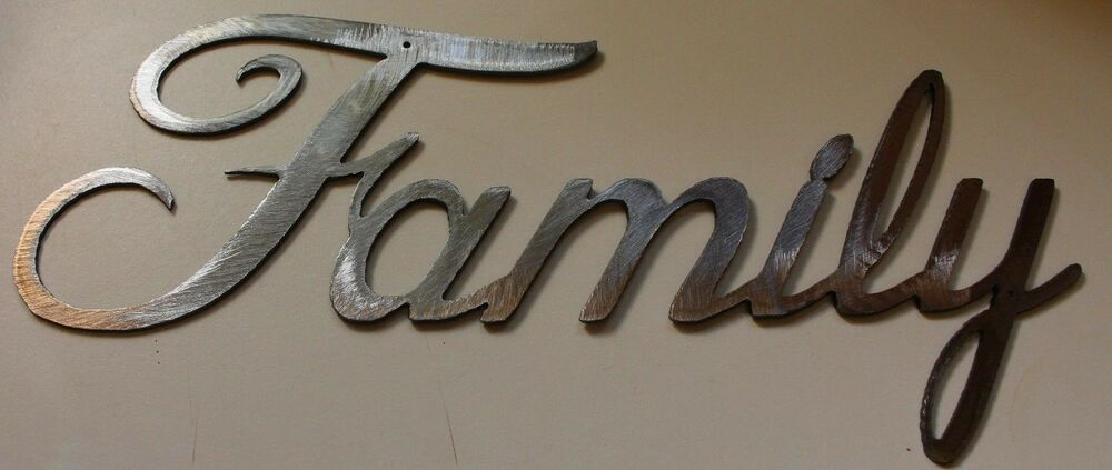 Family Word Home Decor Metal Wall Art ~ Metal wall art words family style silver quot wide ebay