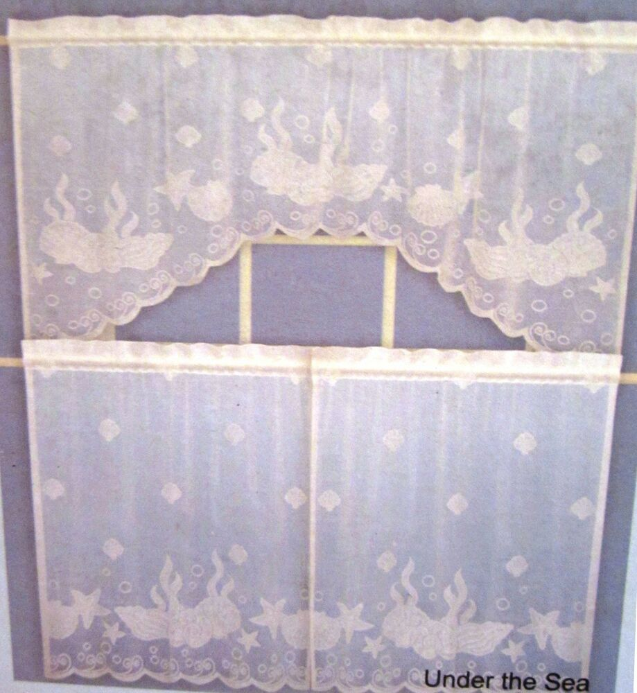 Coastal Lace Under The Sea Seashells Nautical Ivory Curtains 36L Tiers ...