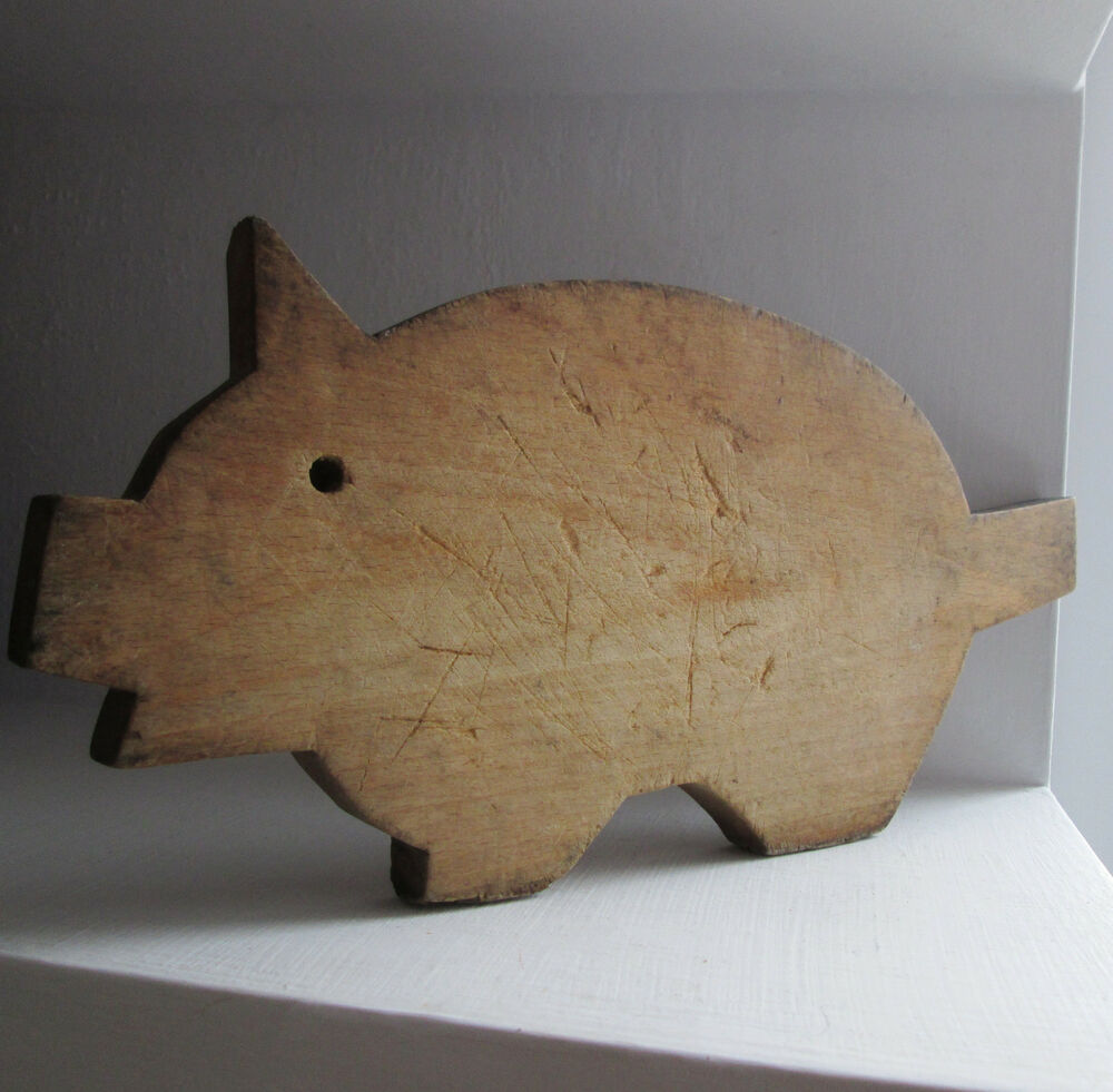 ۞ Old Wooden Pig Animal Shaped Cutting Board 16x7 Quot Wood