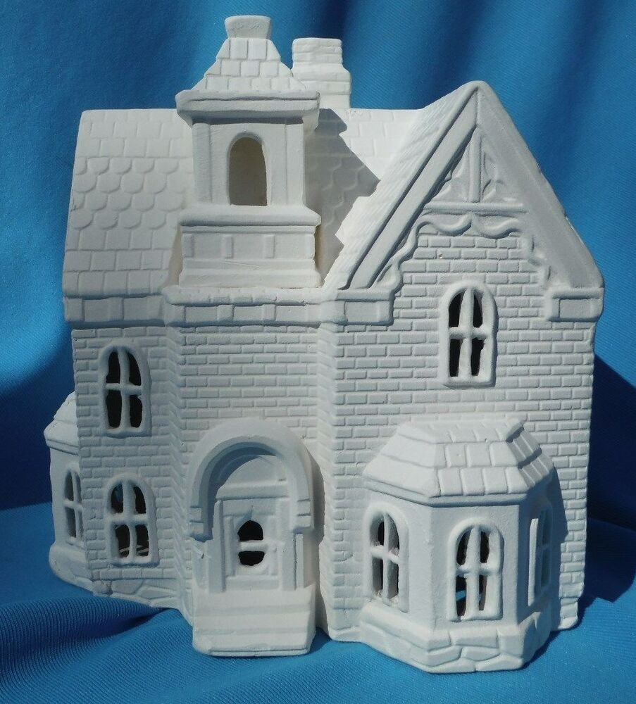 Victorian hotel ceramic bisque u paint christmas house for Ceramic house paint