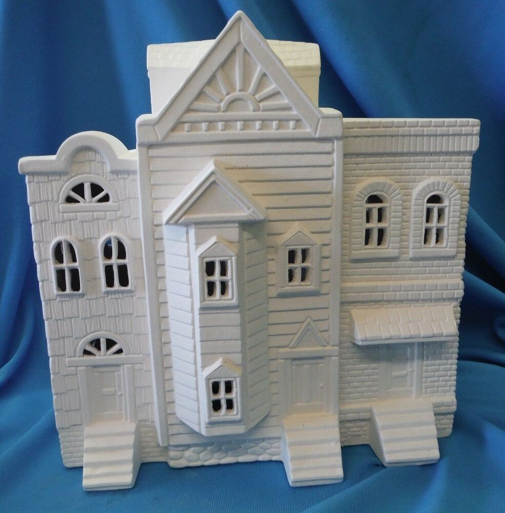 Victorian row house ceramic bisque u paint christmas house for Ceramic house paint