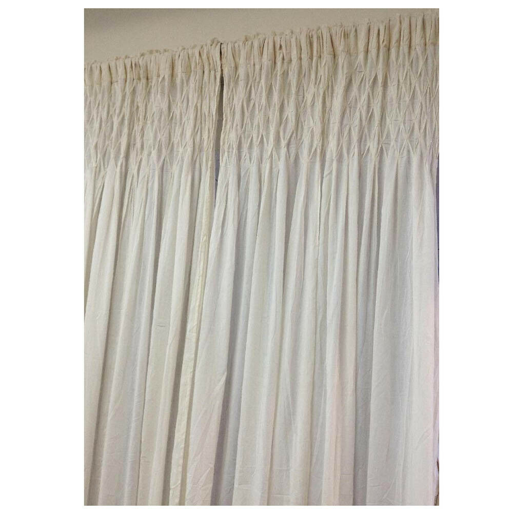French Country New Curtain Ruffled Ivory Smocked Bed Room