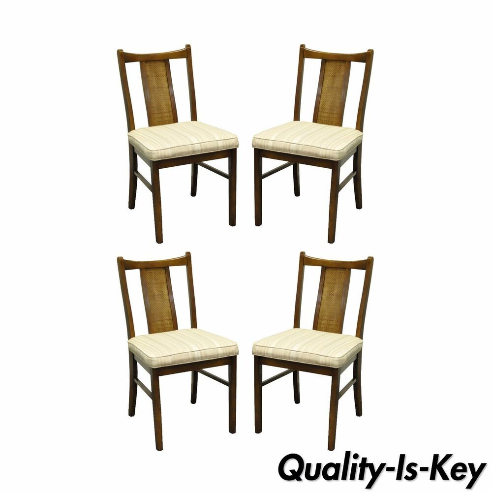4 vintage mid century modern cane back walnut dining chair for Walnut dining chairs modern
