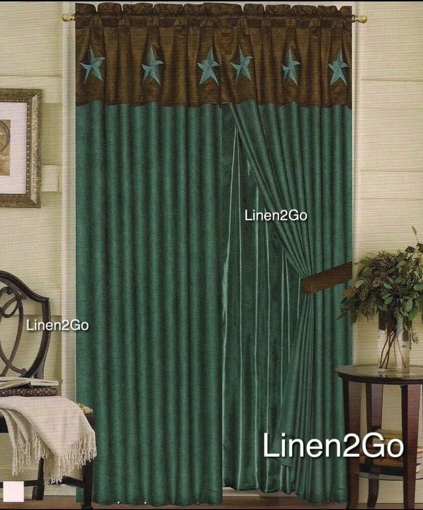 Texas Western Embroidery Star Suede Curtain With Lining