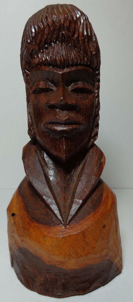 Hand Carved African Style Bust Statue Sculpture Solid Wood