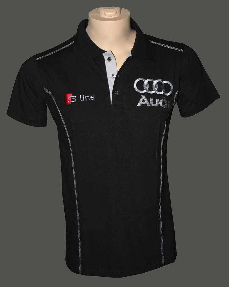 audi t shirt with collar embroidered logos s line ebay. Black Bedroom Furniture Sets. Home Design Ideas