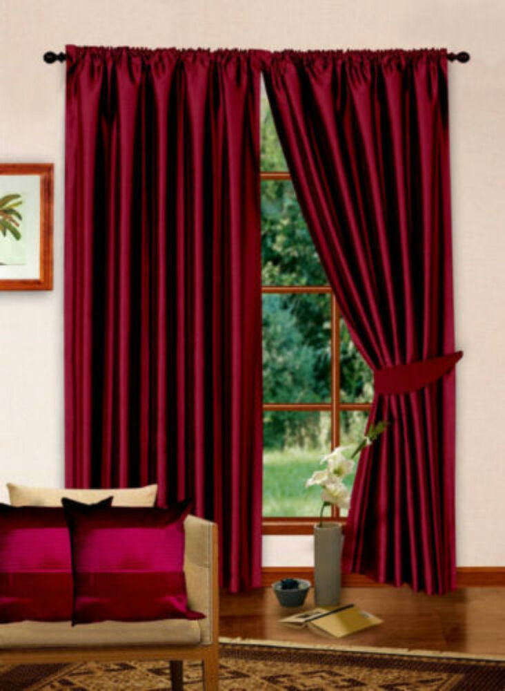 Luxury designer collection faux silk burgundy fully lined for Designer curtain tie backs
