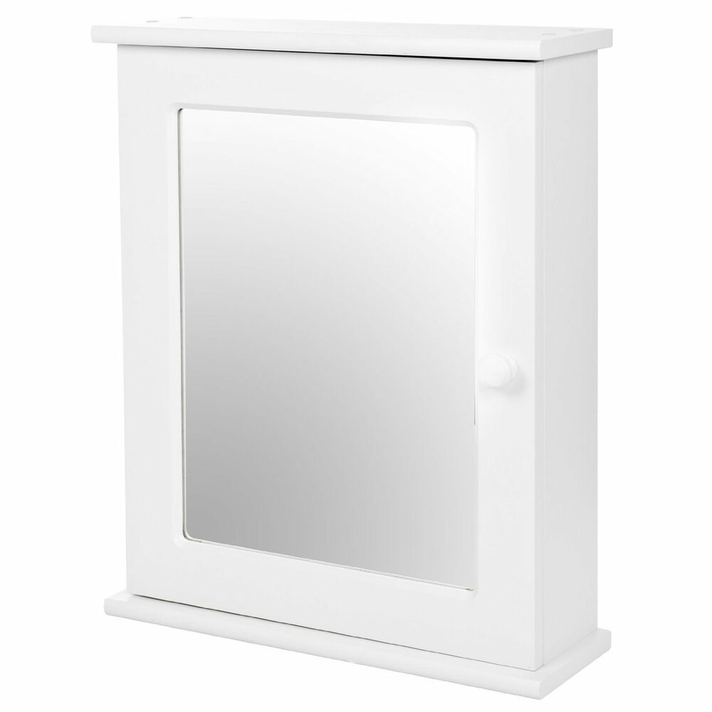 Vienna single door mirrored cabinet white