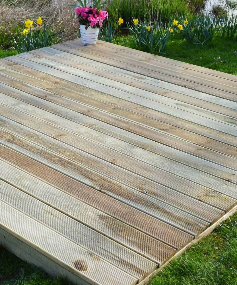 3 6m x 3 6m value garden decking kit no handrail ebay for Garden decking companies