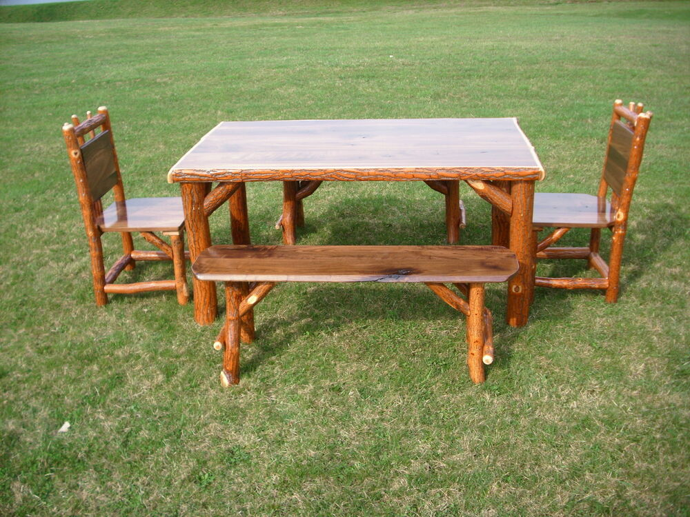 Sassafras walnut rustic log kitchen table 2 chairs 2 for Kitchen table sets with bench