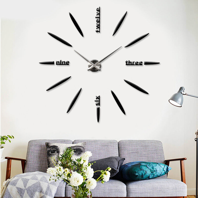 Modern Art Decor Wall Clock Sticker : New modern art sticker diy d wall clock luxury home