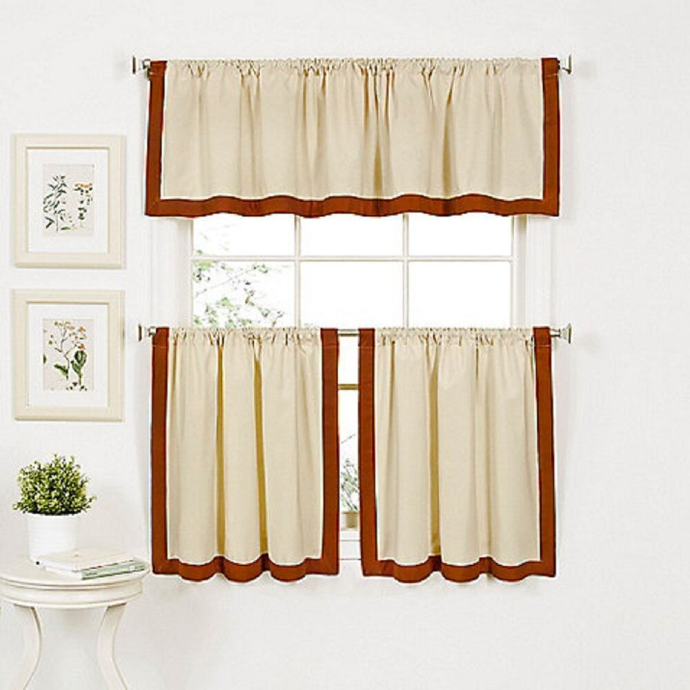 Wilton Banded Kitchen Curtain 24 inch Tier and Valance Set Spice Linen ...