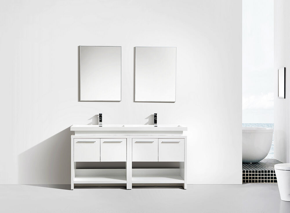 Twin Vanity Double Sink Designer Unit In High Gloss White