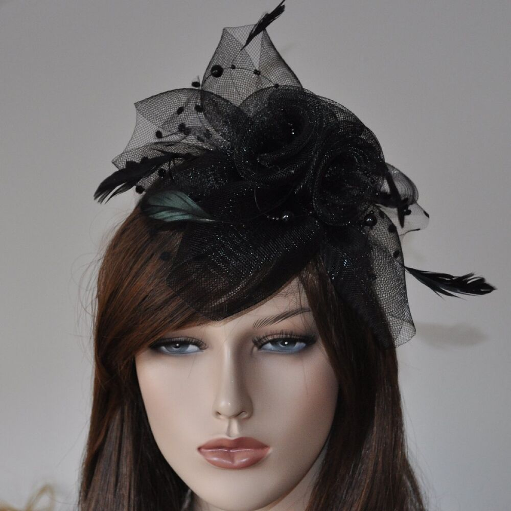 haarreif fascinator schleier perlen federn hochzeit haarschmuck blume schwarz fp ebay. Black Bedroom Furniture Sets. Home Design Ideas