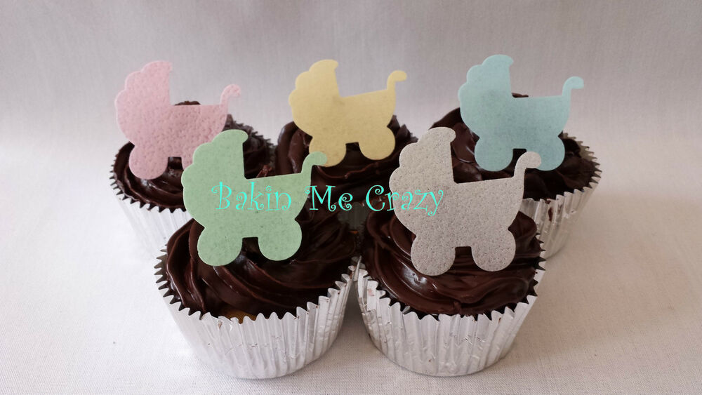 25 edible baby pram baby shower cupcake topper cake for Baby footprints cake decoration
