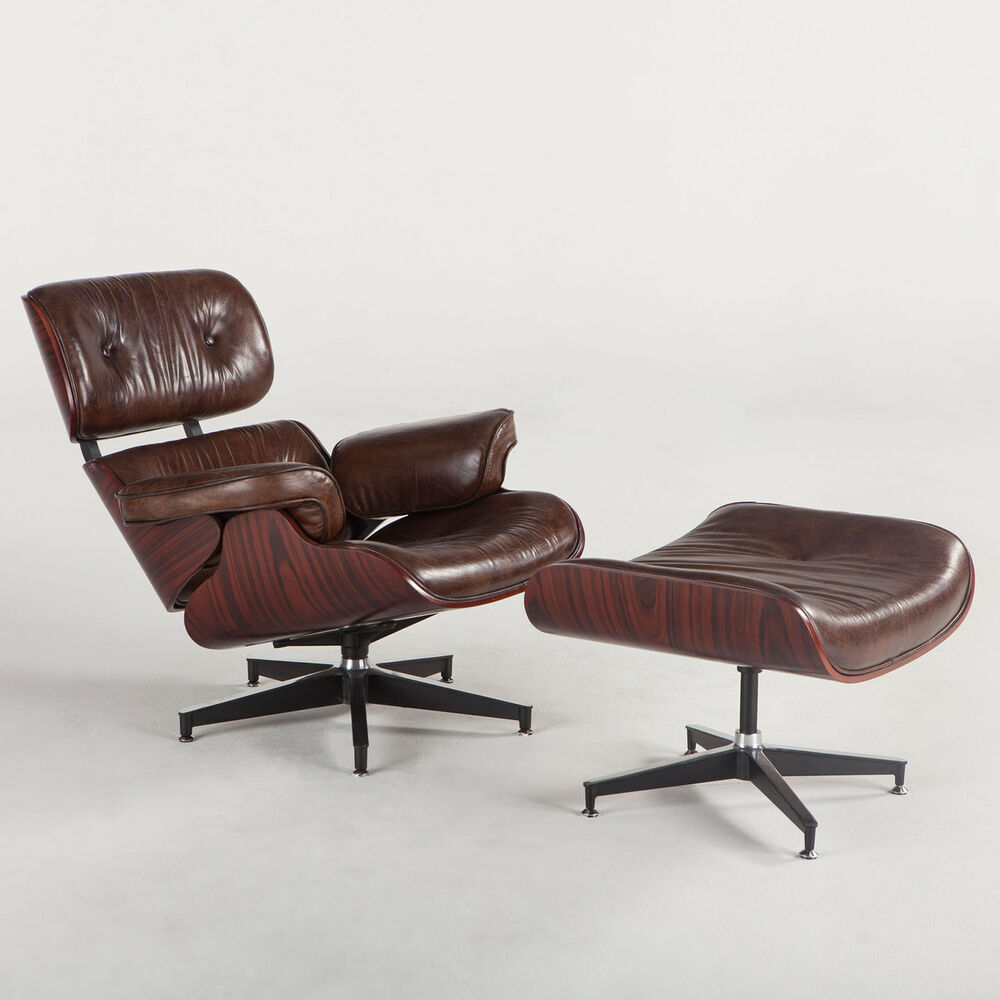 Eames Vintage Leather Palisander Wood Eames Style Chair