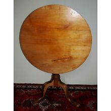 18TH C QUEEN ANNE SYCAMORE & MAPLE TILT TOP TEA TABLE ~ RARE TENDRIL CARVED LEGS