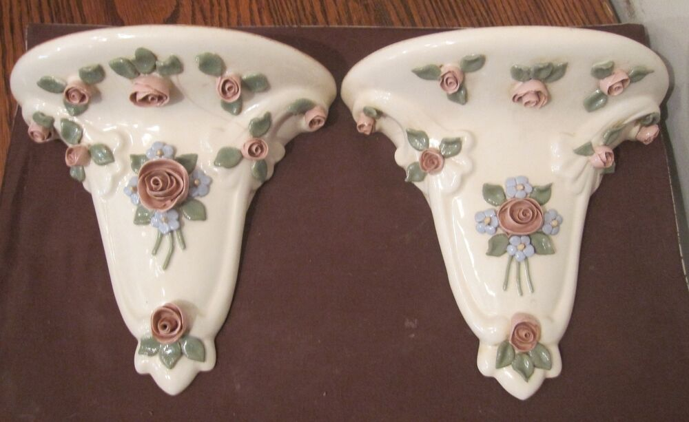Pair Antique Handmade Porcelain Ceramic Flower Wall