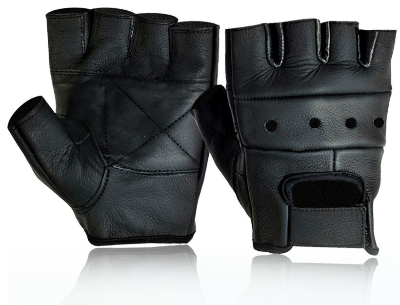 MENS LEATHER FINGERLESS DRIVING MOTORCYCLE BIKER GLOVES | eBay