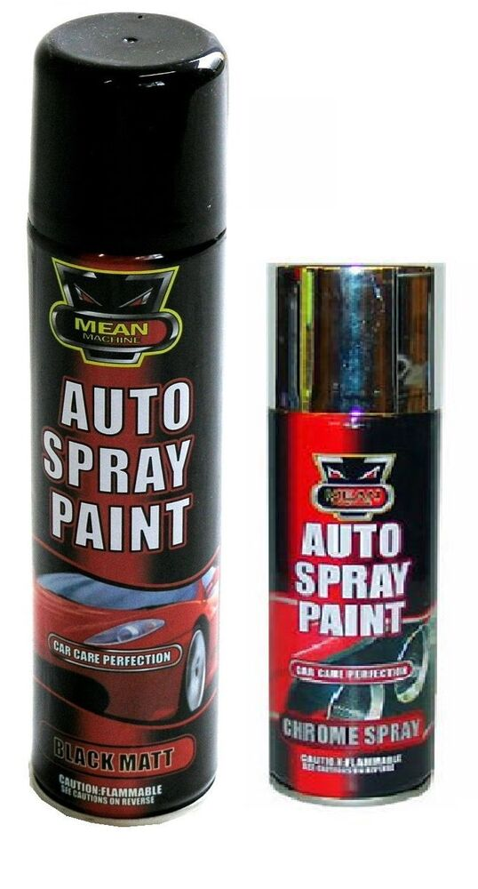 auto spray black matt chrome aerosol auto spray paint cans cars vans bikes ebay. Black Bedroom Furniture Sets. Home Design Ideas