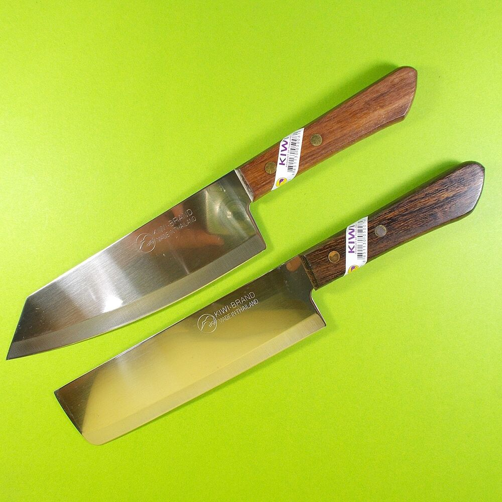 Thai Chef Knife Cook Knives Set 2 KIWI Wood Handle Kitchen