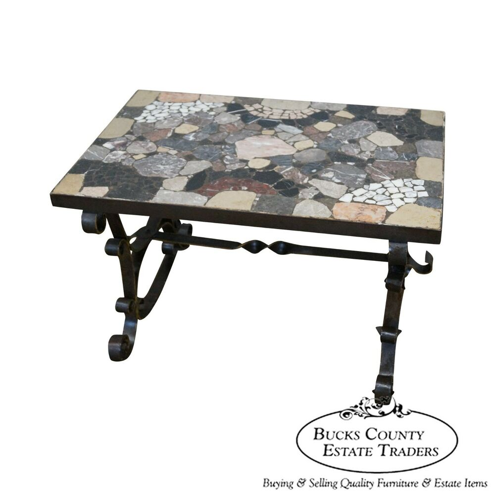 Antique Italian Hand Forged Iron Coffee Table W/ Mosaic