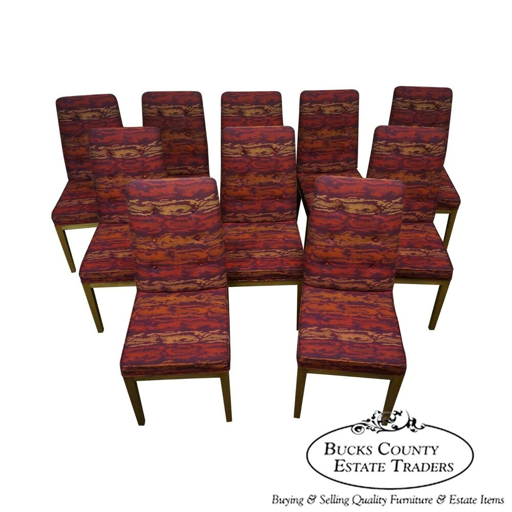 Mid Century Modern Set Of 10 Dining Chairs W Knoll Textile Upholstery EBay