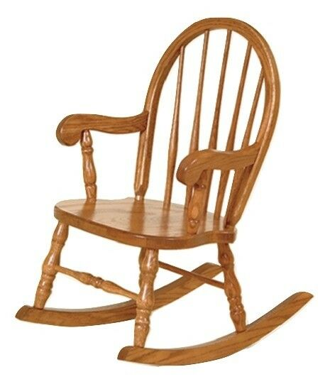 Classic Childrens Oak Rocker Bow Back Child Wooden Rocking Chair Amish ...